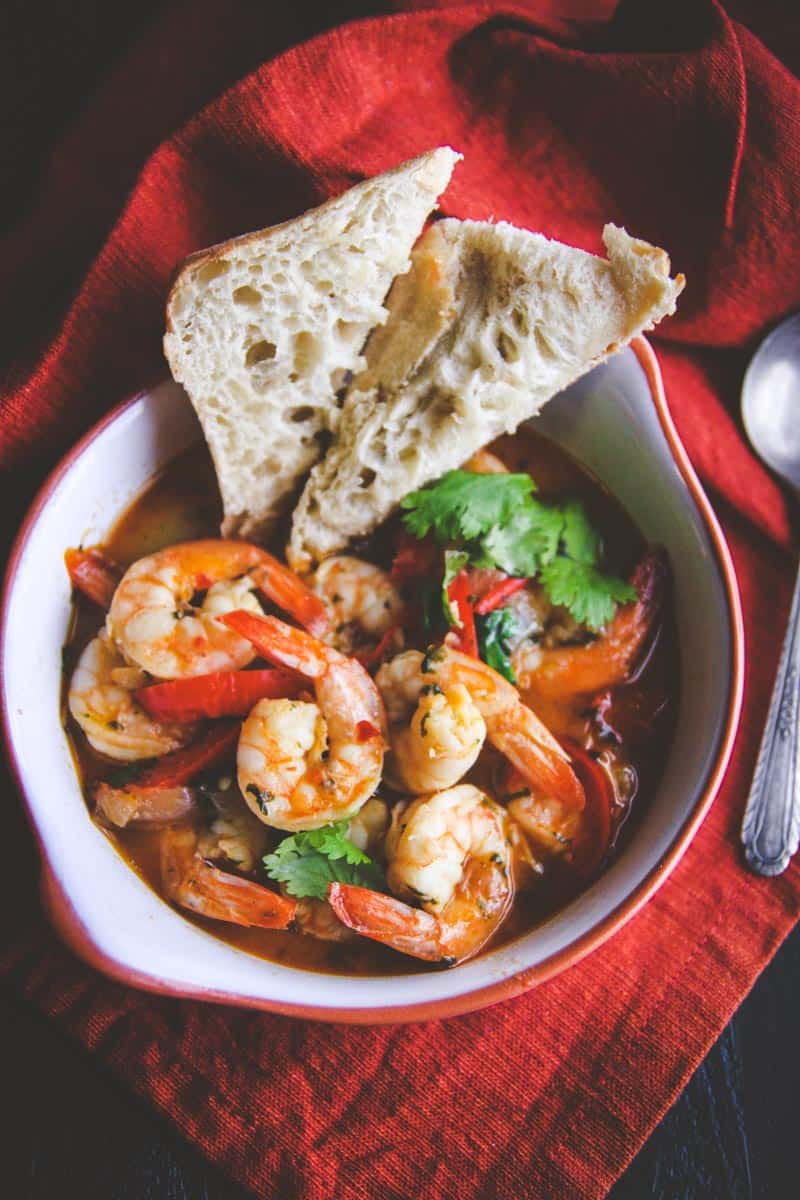 The best white wine chili garlic butter shrimp you'll ever eat