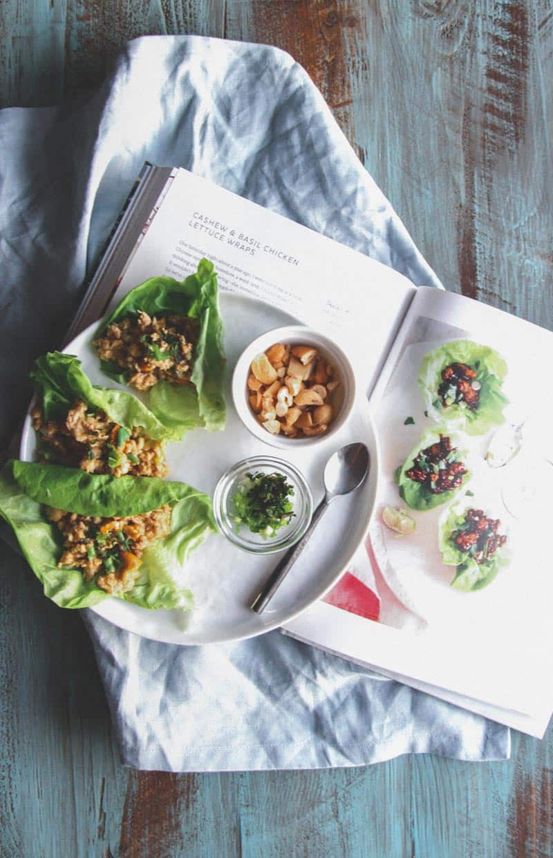 My favorite cashew chicken and basil lettuce wraps lately