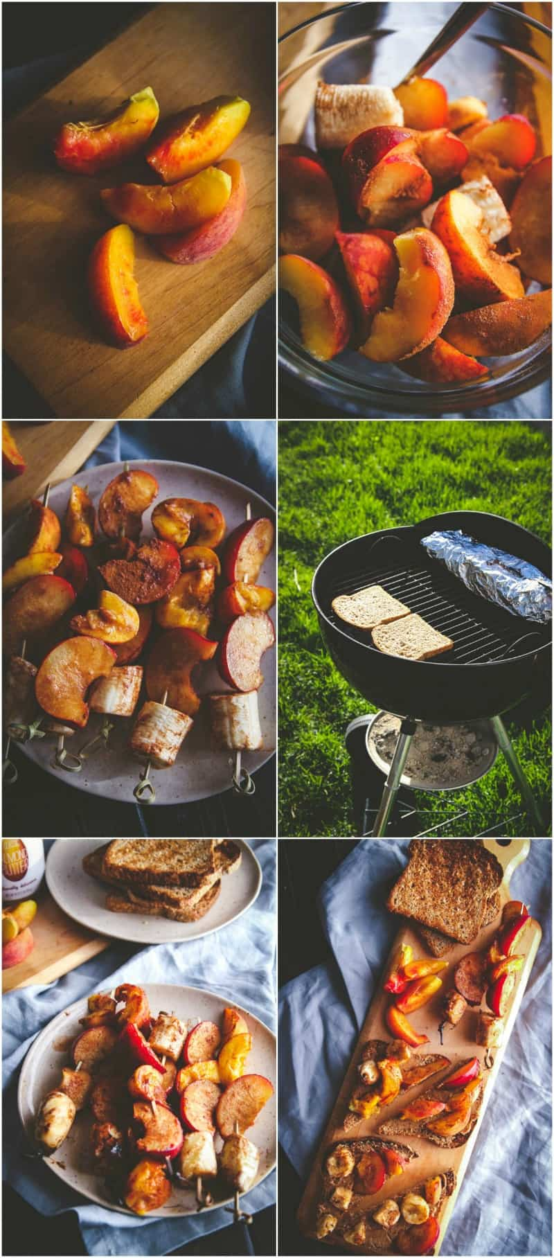 Grilled fruit and almond butter toasts for the best brunch