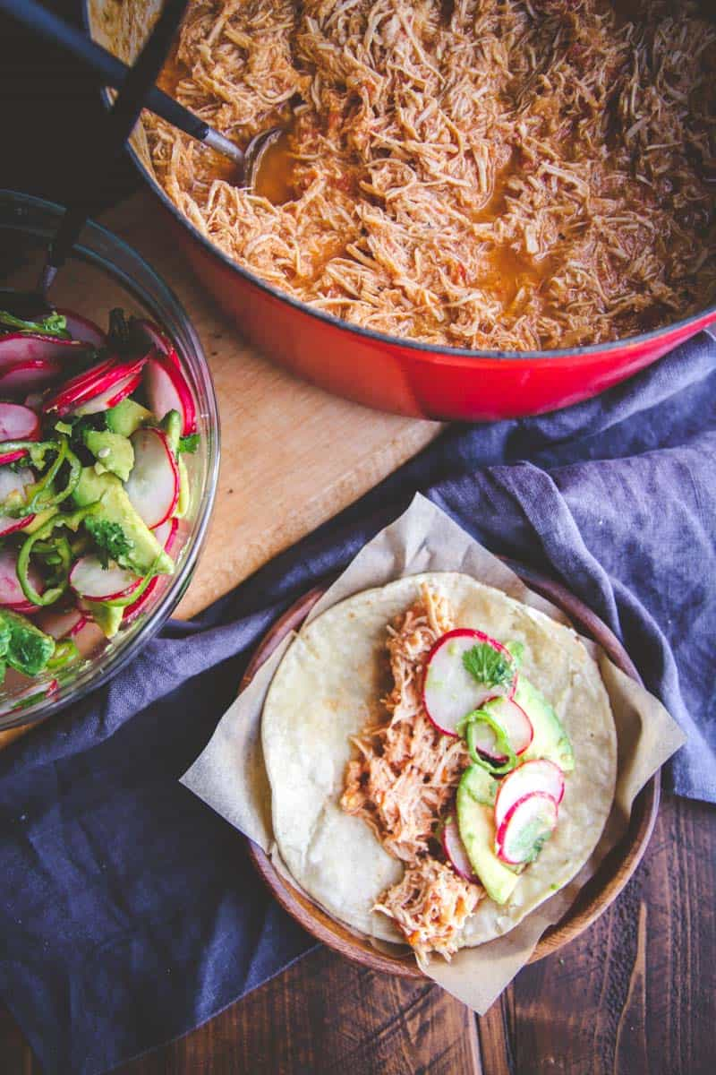 The most delicious slow roasted chicken tacos with radish slaw you will eat