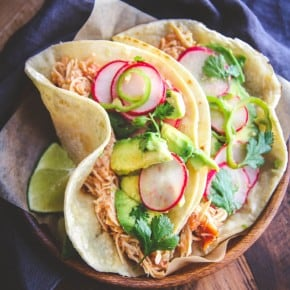 Slow Roasted Chicken Tacos with Radish Slaw