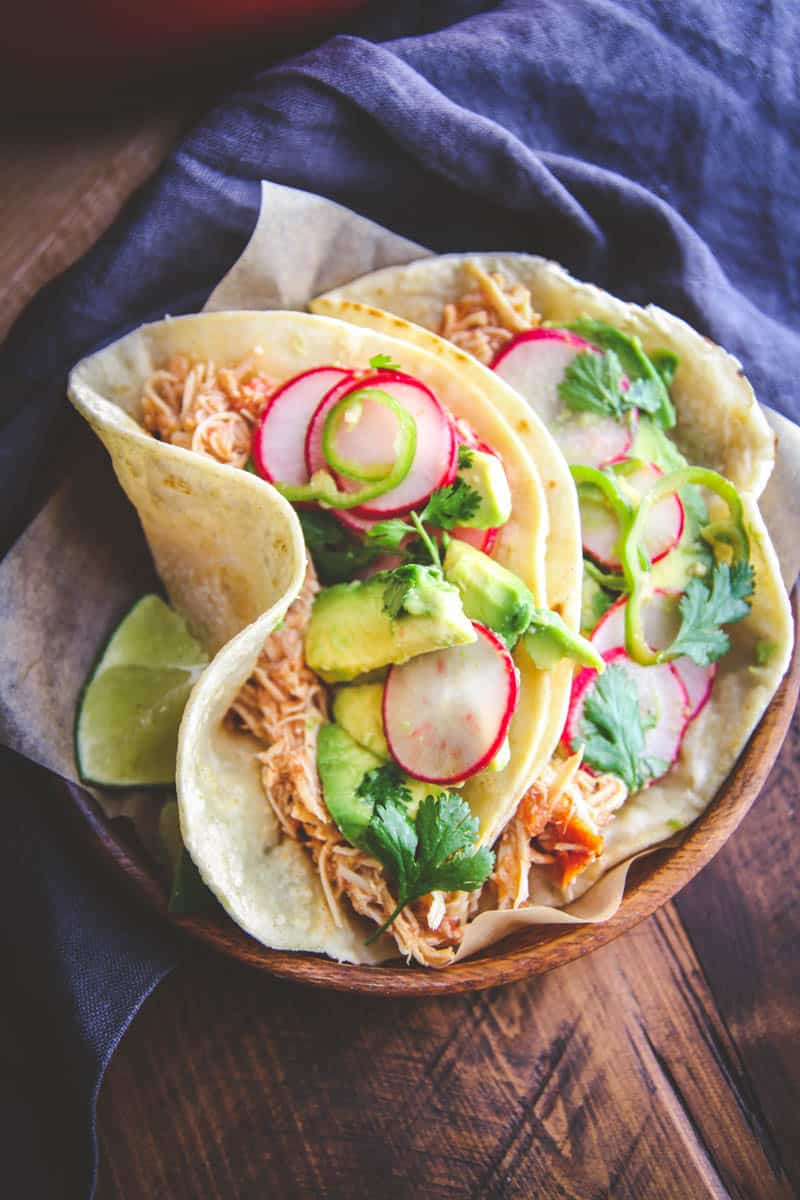 The most amazing slow roasted chicken tacos with radish slaw you will eat
