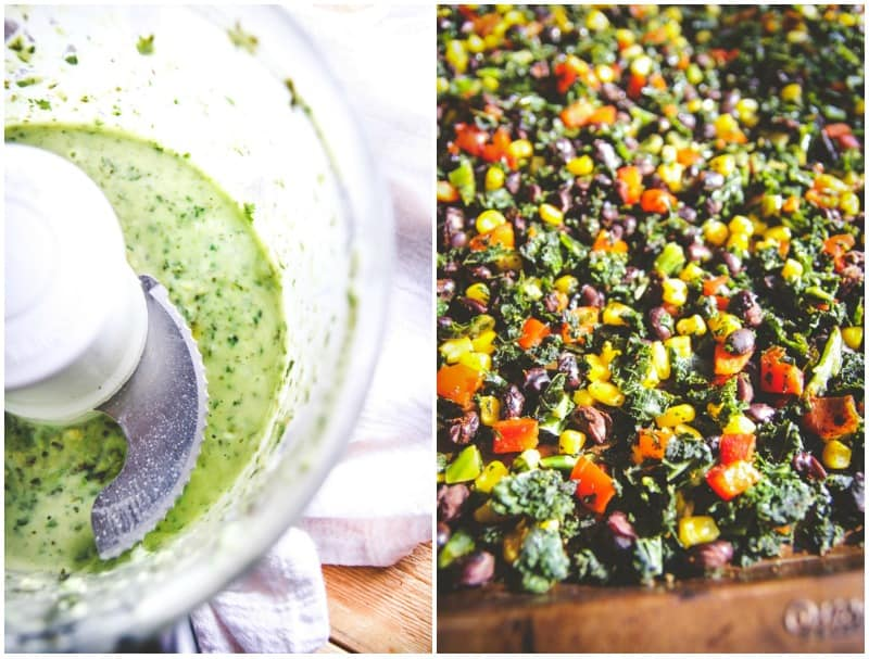 The best vegetrian sheet pan dinner for Mexican kale salad