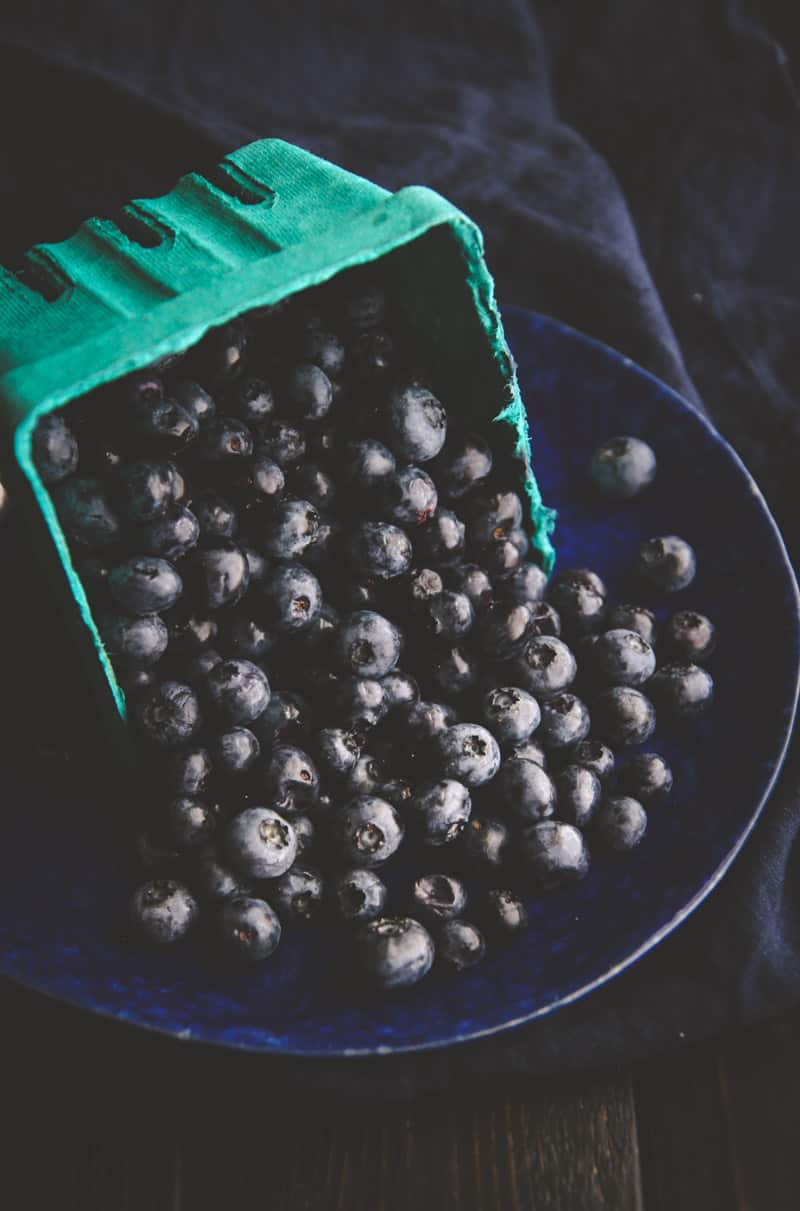 Fresh blueberries from the farmers market for a 5 ingredient blueberry skillet dump cake