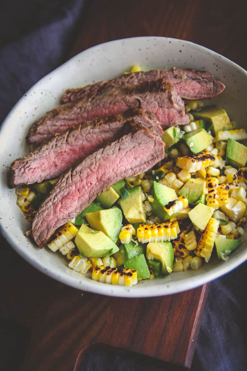 The most delicious flank steak with a corn salad