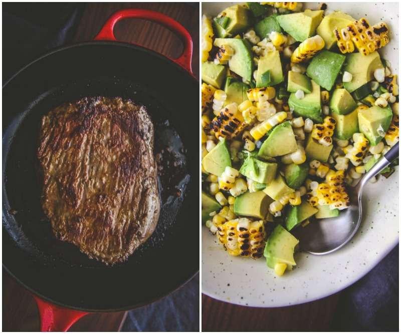 The most amazing 5 ingredient steak corn and avocado salad