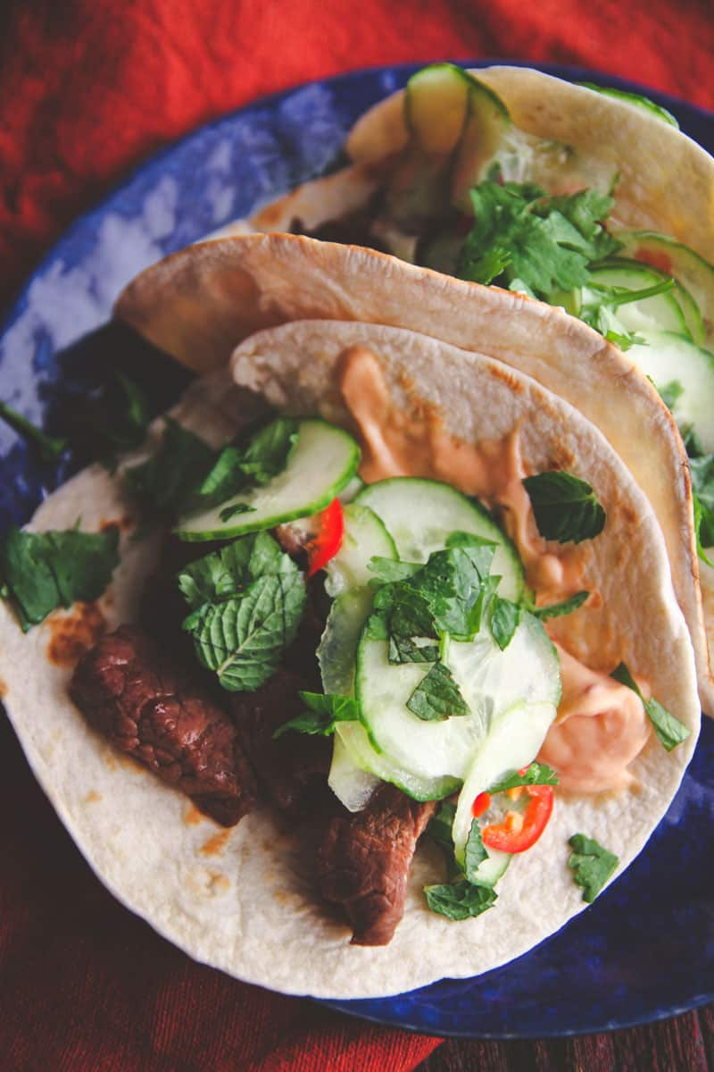 Korean BBQ beef tacos with quick pickled cucumbers are great for taco Tuesday