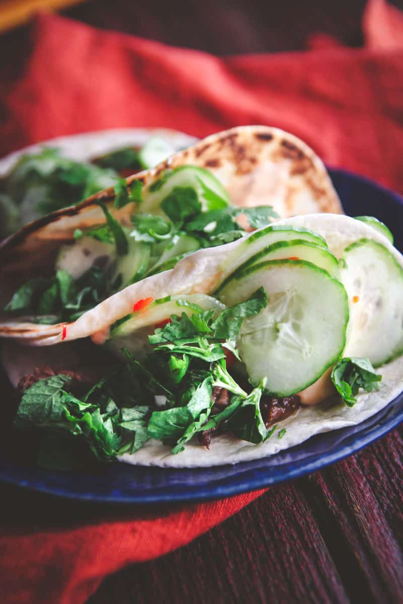 The best Korean BBQ beef tacos with quick pickled cucumbers perfect for taco Tuesday