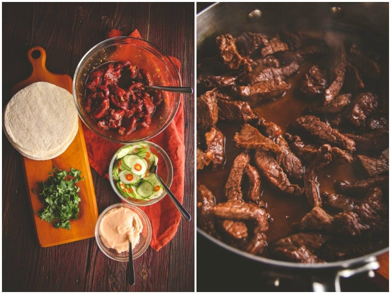 The best recipe for Korean BBQ beef tacos with quick pickled cucumbers