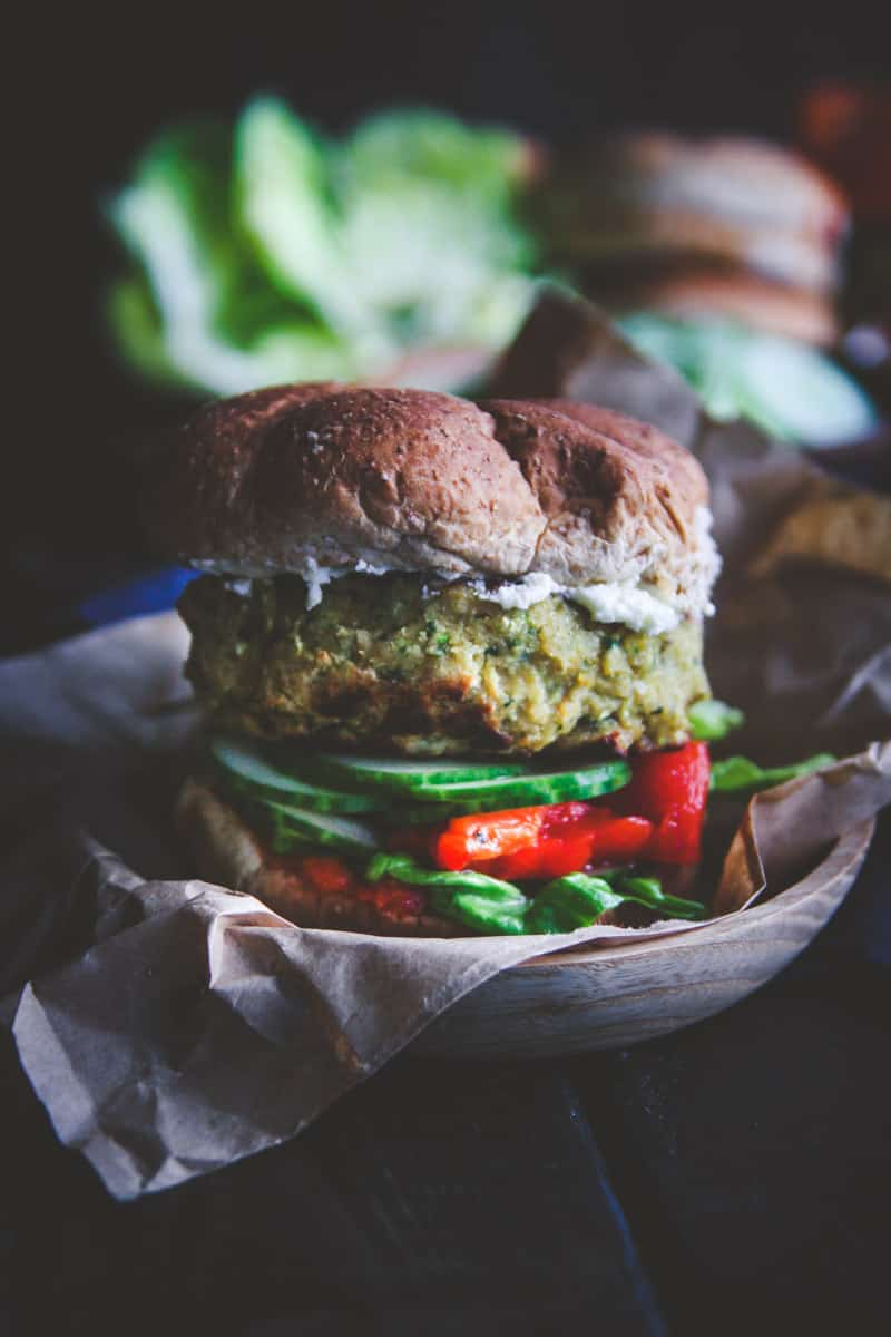 The best veggie burger ever is this chickpea and zucchini veggie burger