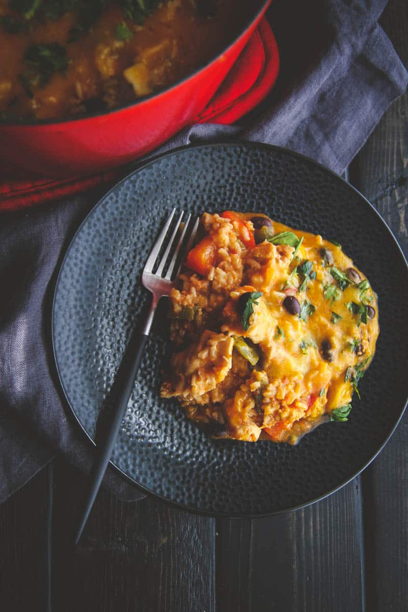 The best tasting ceesy chicken and rice enchilada casserole for a family dinner