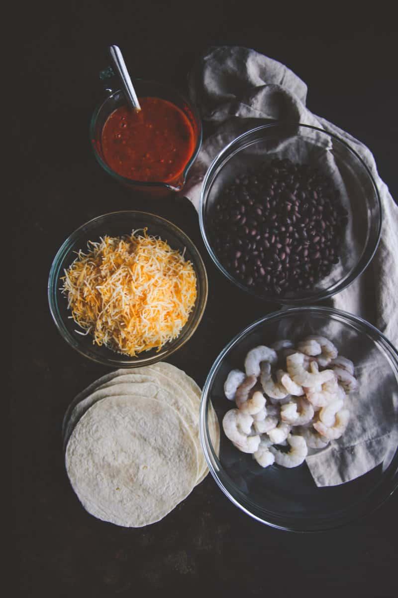The best ingredients for 5 ingredient shrimp and black bean enchiladas