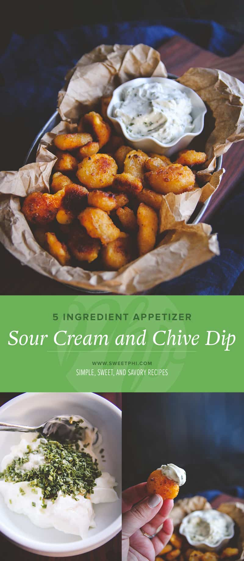 The most amazing 5 ingredient sour cream and chive dip for baked cheese curds