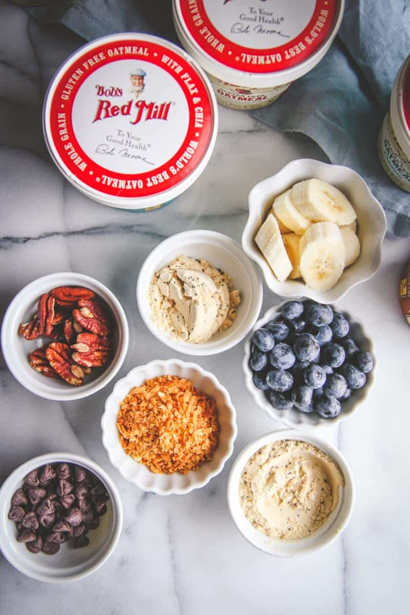 Healthy oatmeal toppings and on the go oatmeal cups with Bob's Red Mill Oatmeal
