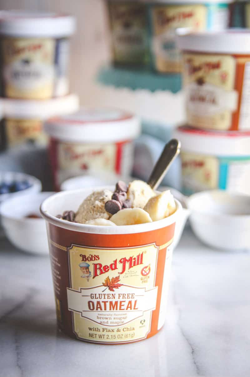 The best fast and easy breakfast with Bob's Red Mill oatmeal cups with toppings