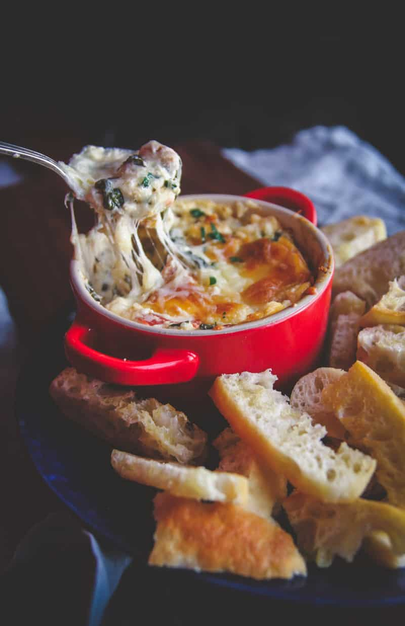The most delicious hot cheesy blt dip