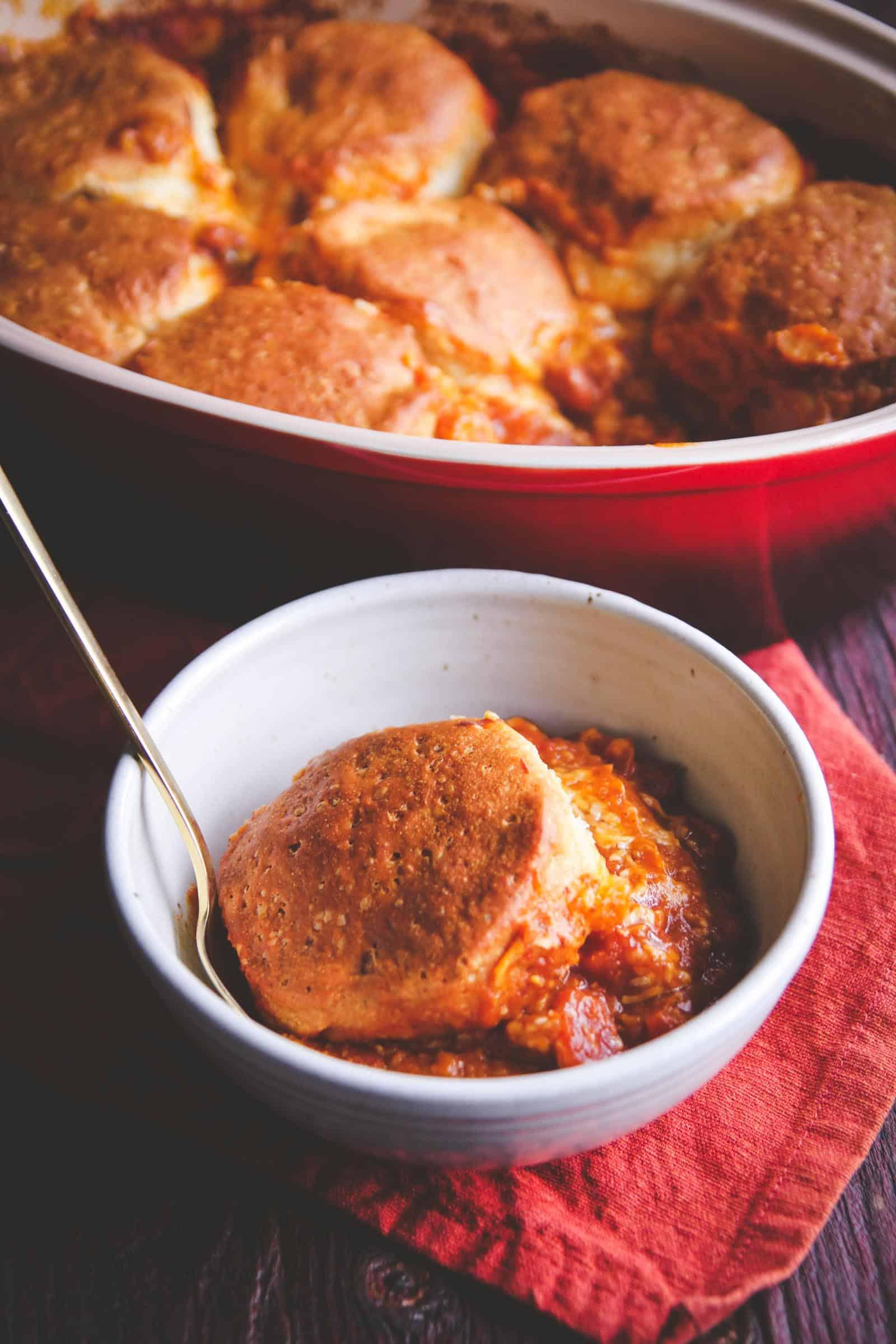 A super easy 5 ingredient pumpkin chili biscuit bake