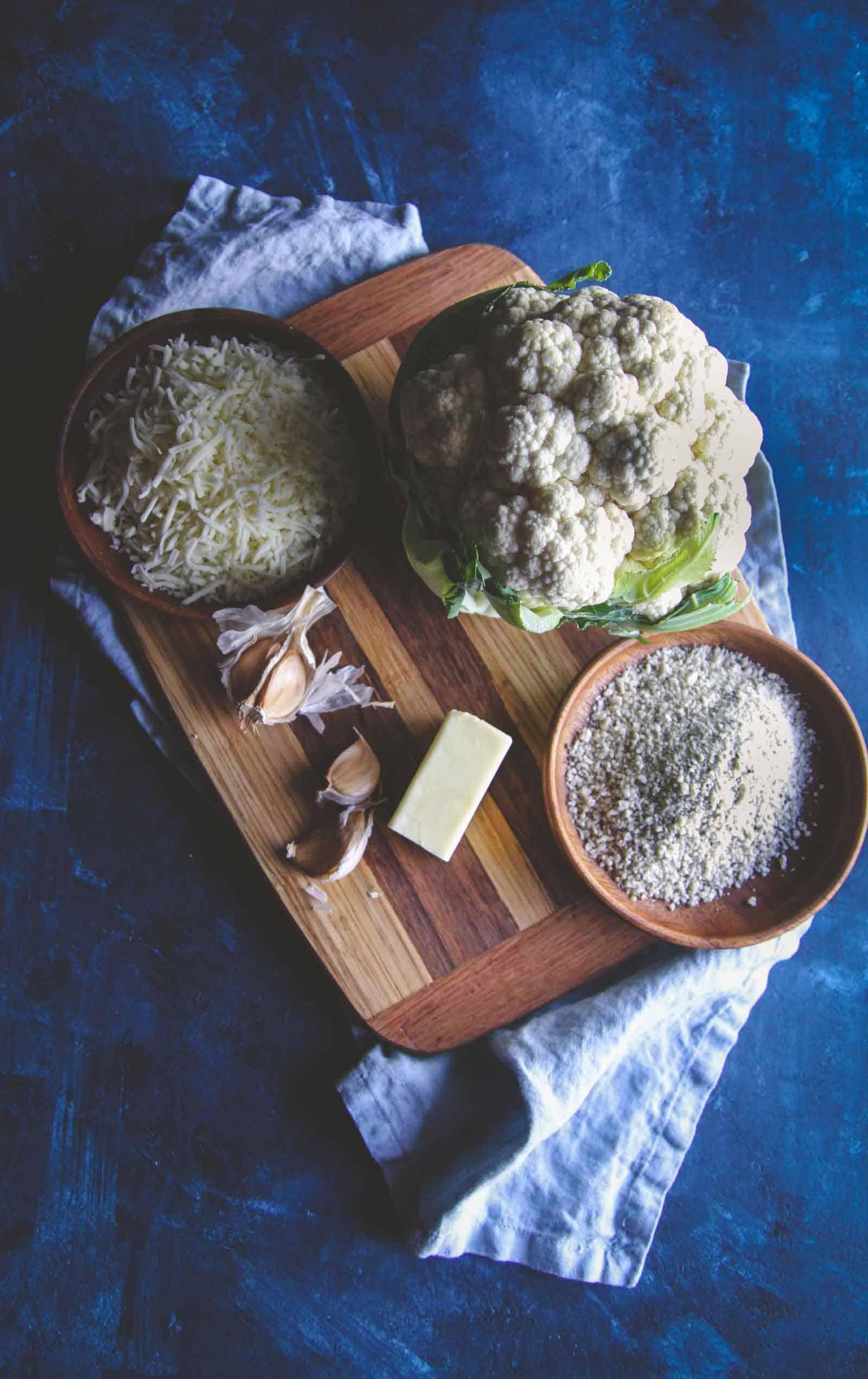 The best side dish is this 5 ingredient vegetarian cheesy cauliflower bake