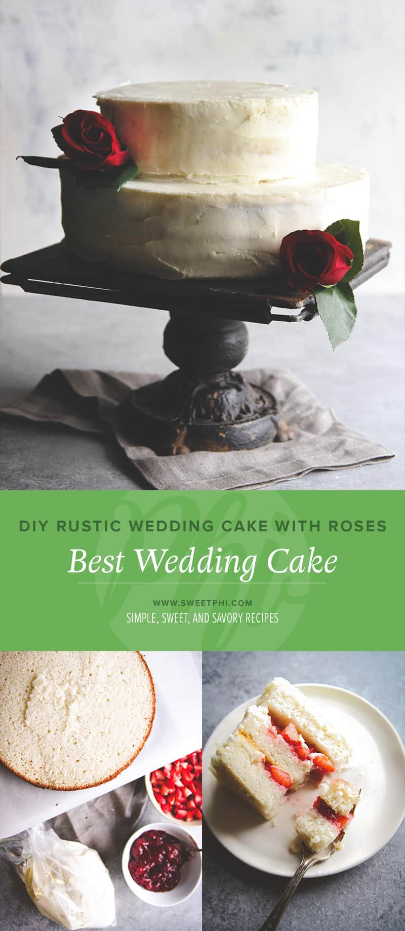 DIY rustic wedding cake with roses. Best wedding cake. DIY wedding cake from @sweetphi
