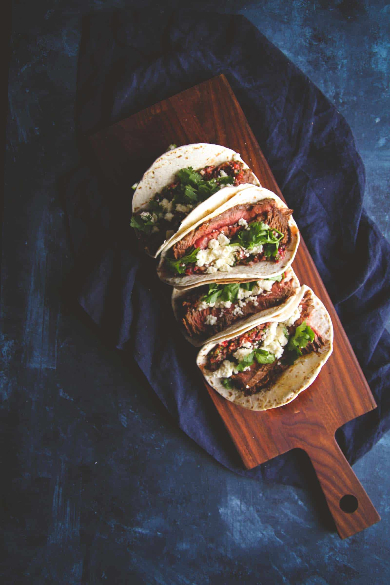 The most delicious steak tacos with cranberry salsa