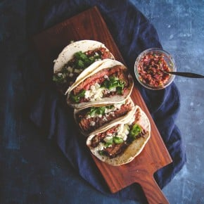Flank steak tacos with fresh cranberry salsa. Perfect for taco Tuesdays from @sweetphi