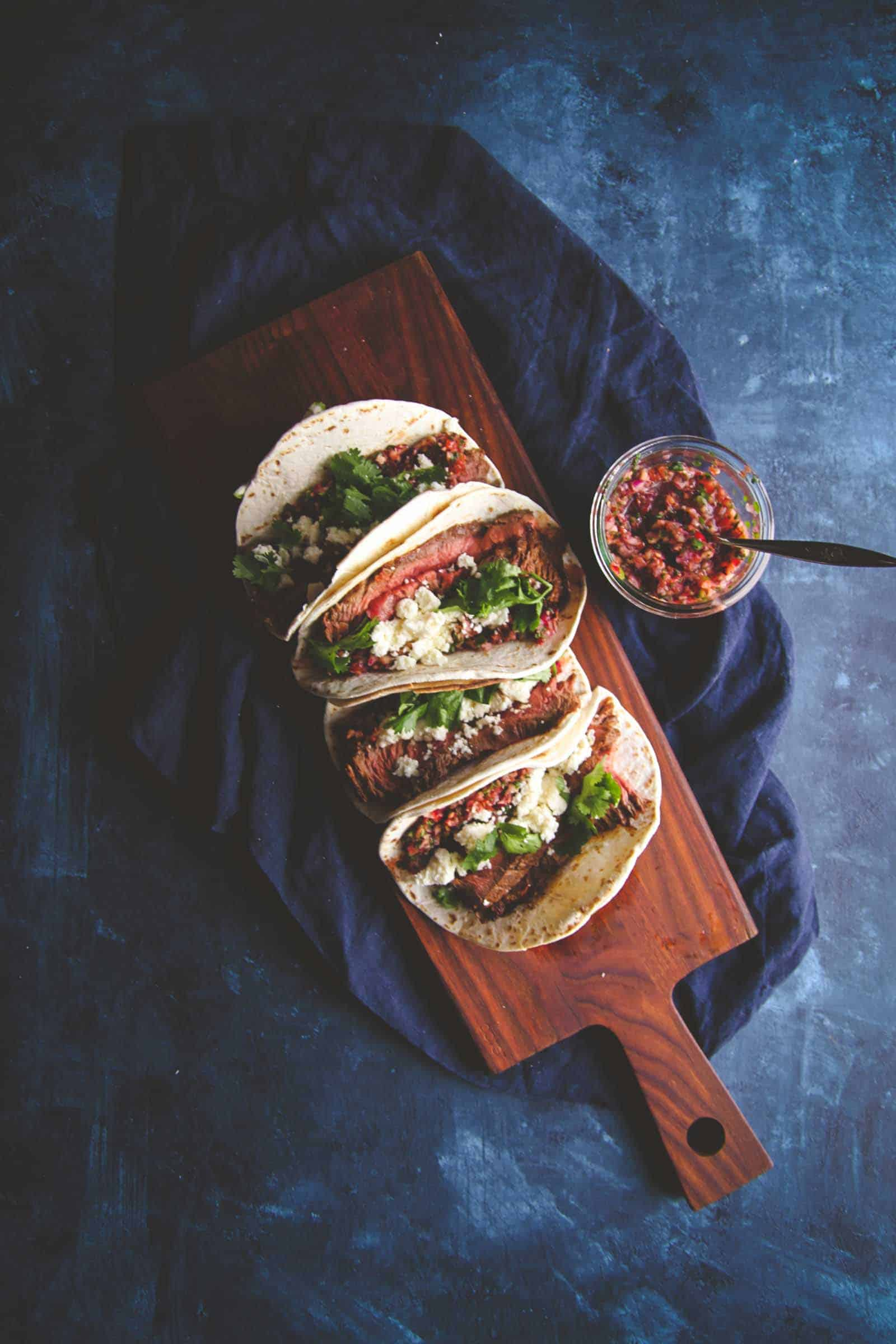 The best ever flank steak tacos with cranberry salsa