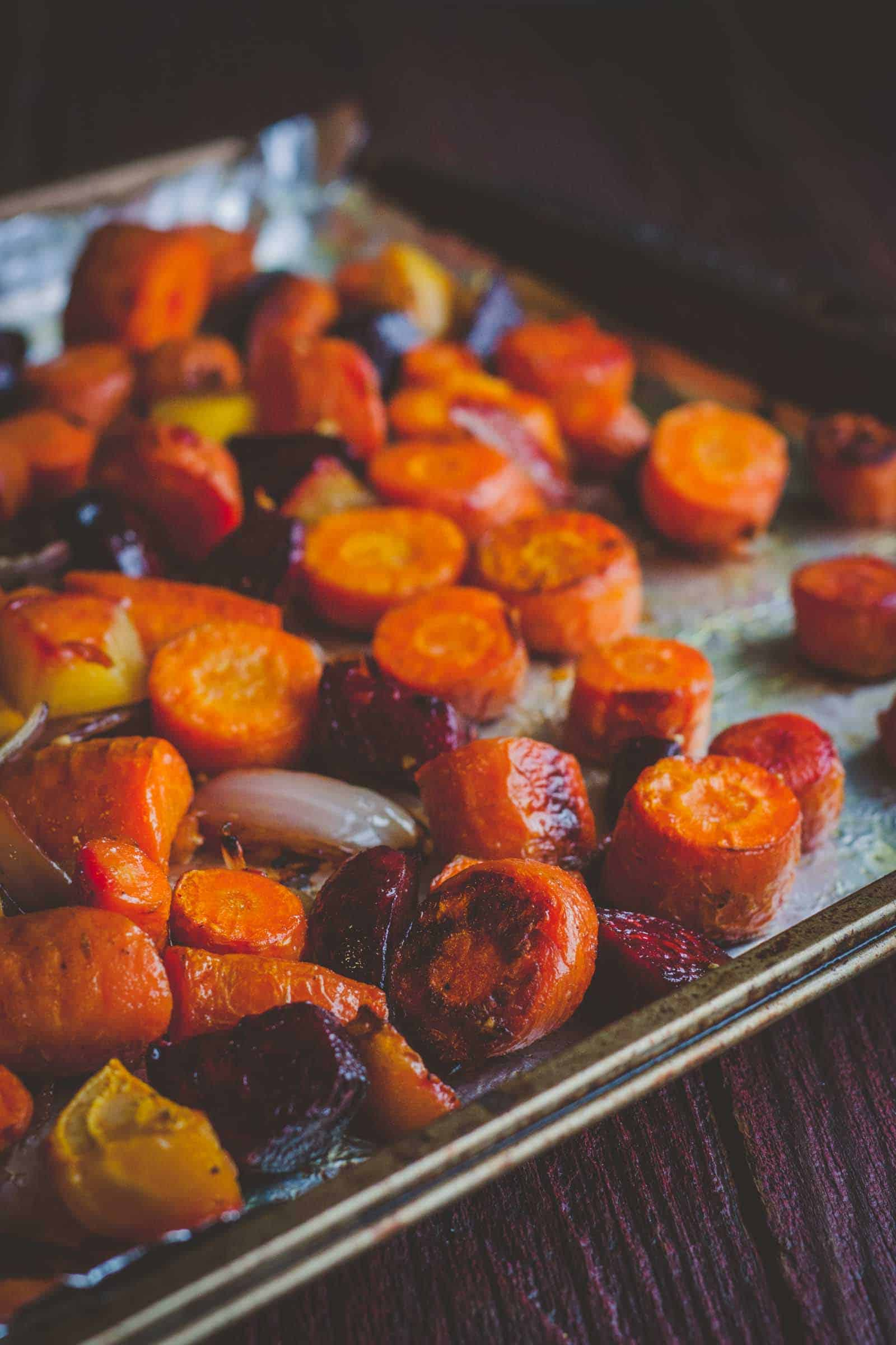 The most amazing and tangy roasted fall vegetables with fried goat cheese salad