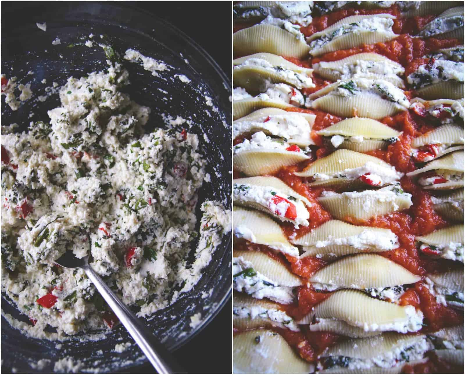 The most delicious rosted vegetable stuffed shells recipe