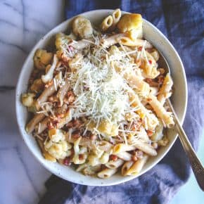 5 ingredient cauliflower pancetta pasta
