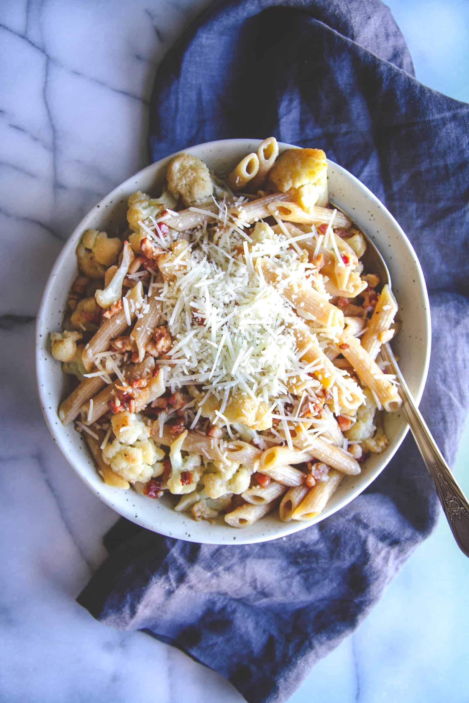 The best 5 ingredient pasta with pancetta and cauliflower
