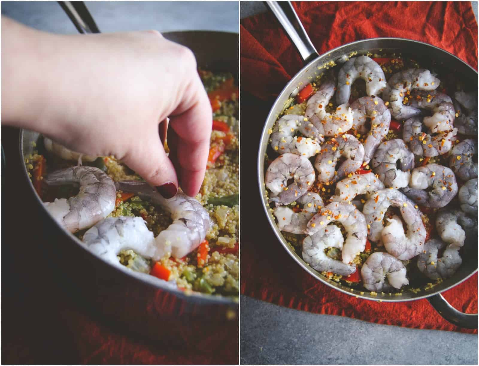 A high protein, one pot thai shrimp and quinoa recipe