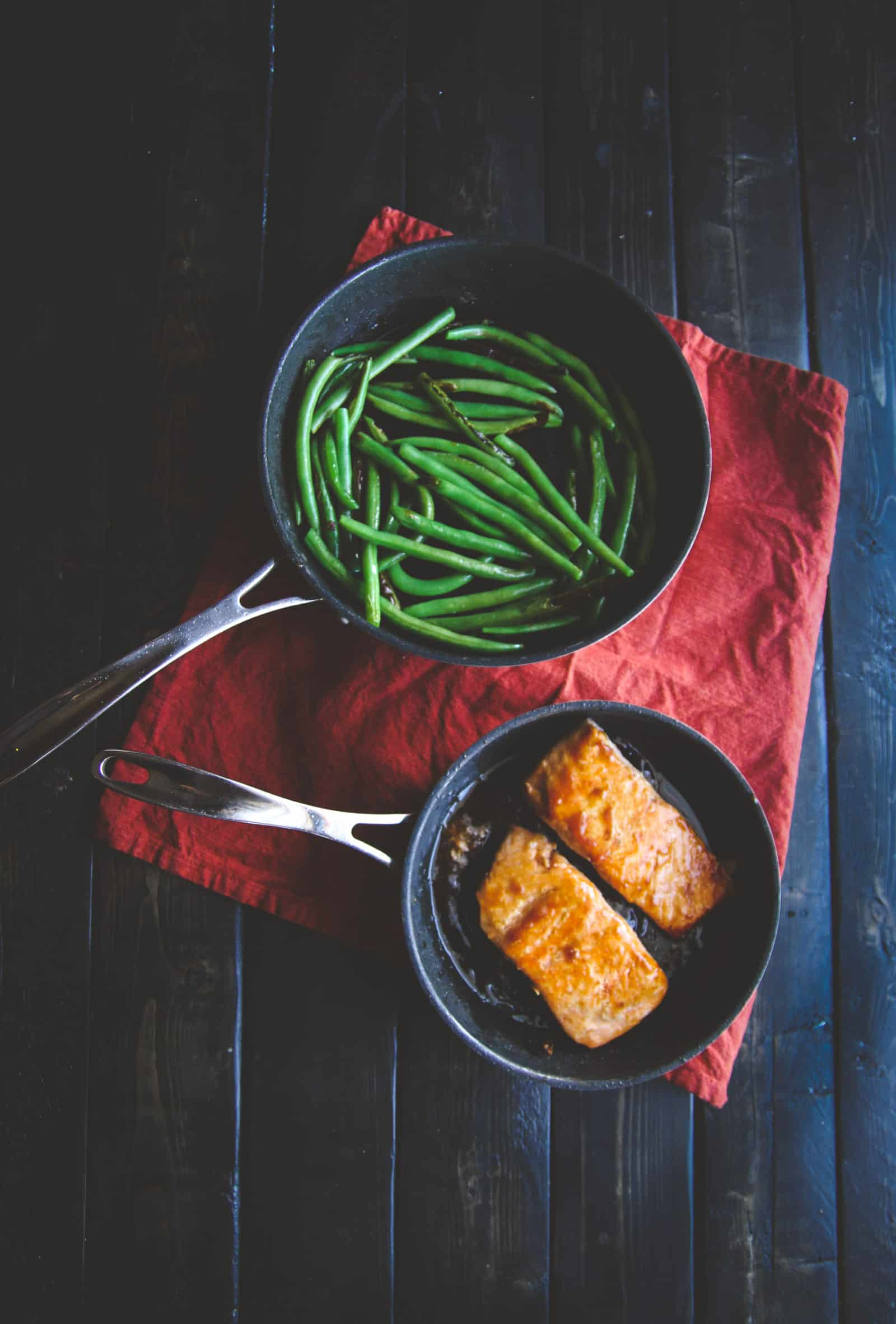 The most amazing ginger teriyaki salmon and green beans