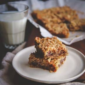 Pecan pie carmelita bars, dessert bars for two, dessert made in a loaf pan