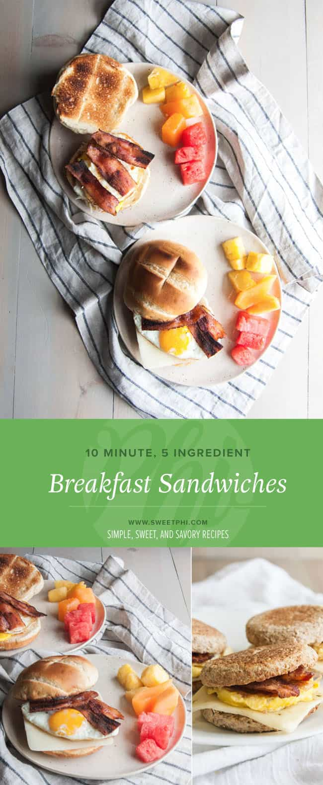 A quick and easy breakfast or brunch recipe for breakfast sandwiches