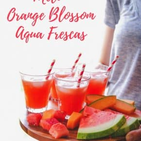 Melon aqua fresca with orange blossom water, summery non alcoholic cocktail, mocktail recipe
