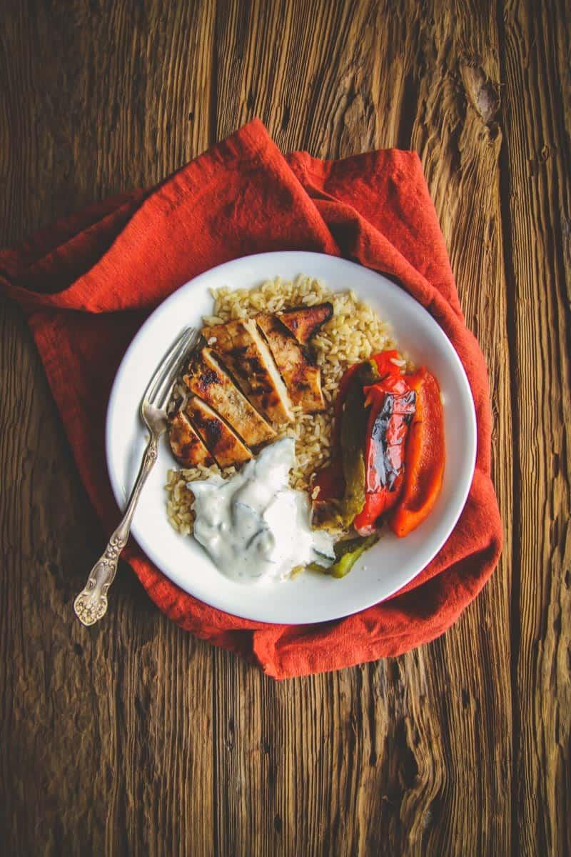 The best greek chicken rice and veggie bowls