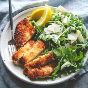 Crispy chicken with arugula parmesan and lemon salad recipe