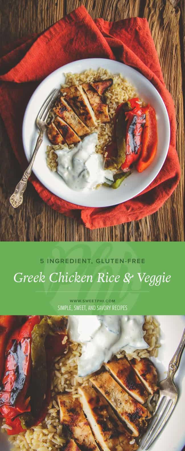 The best gluten free greek chicken rice and veggie bowls
