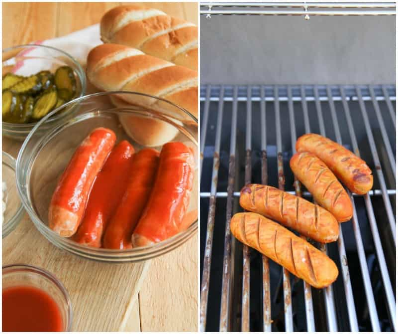 Easy grilled weeknight dinner with grilled chicken sausages