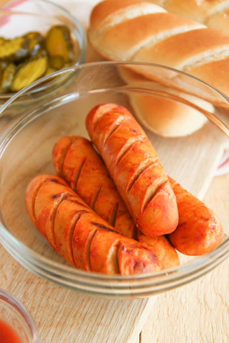 The most delicious grilled hot chicken sausages