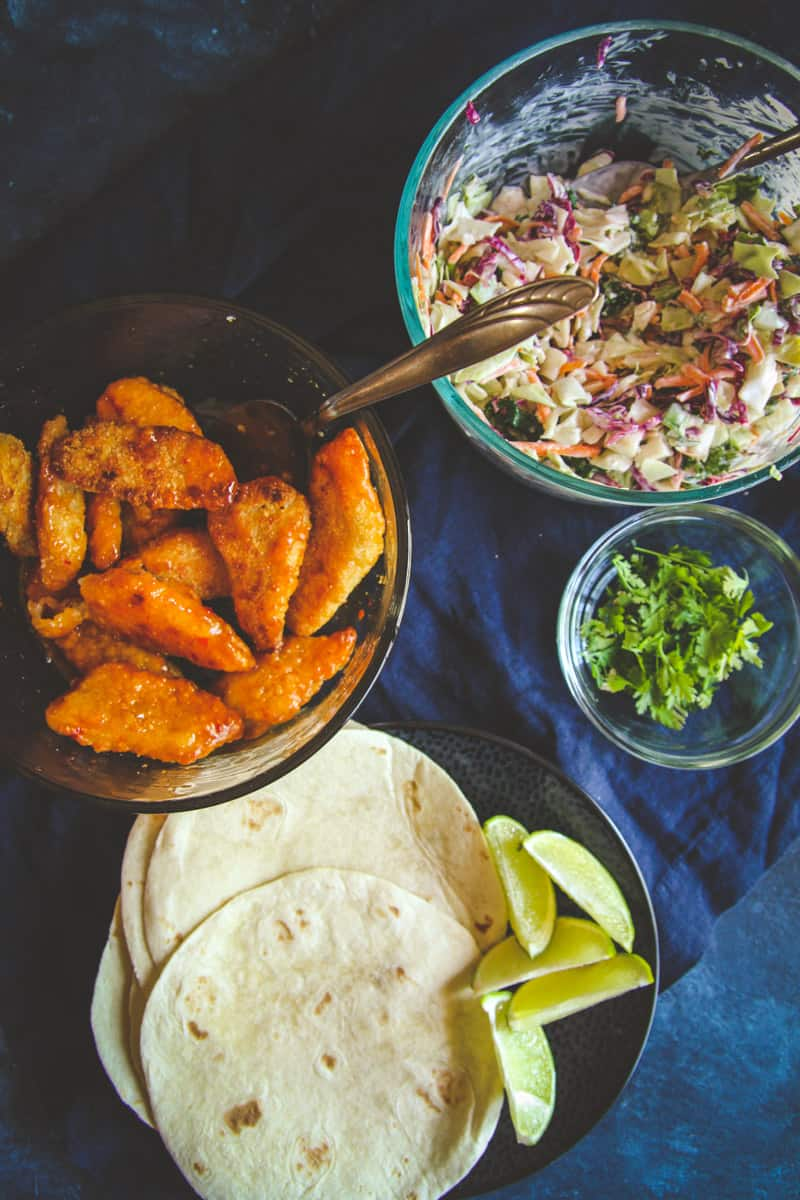 The most delicious sweet chili fish tacos with a creamy slaw