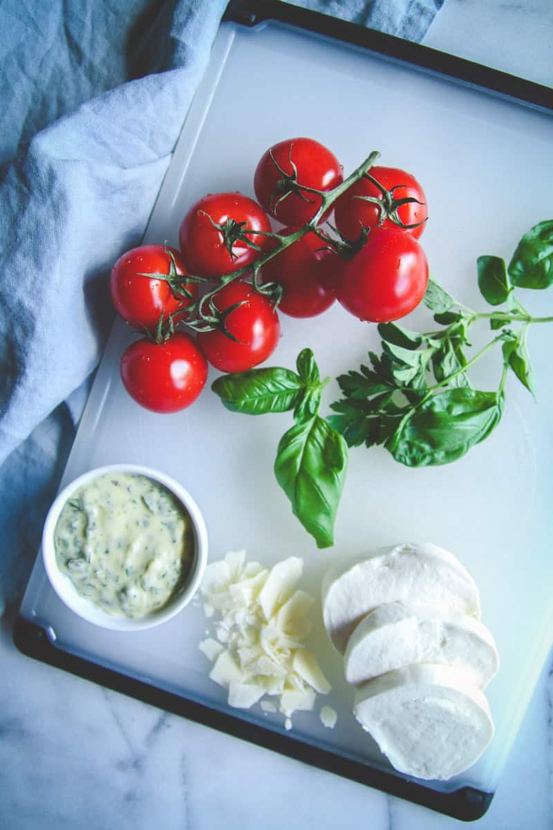 Fresh tomatoes and herbs for the best flatbread