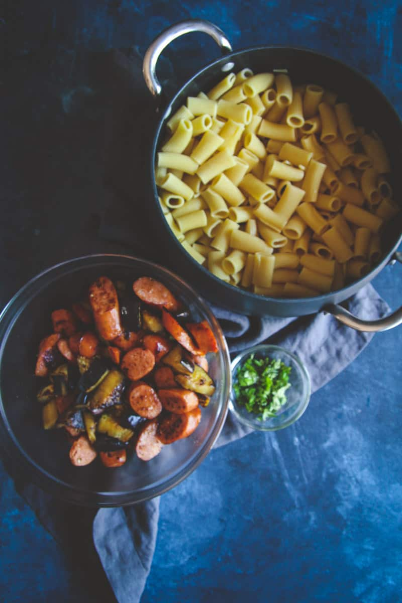The best recipe for rigatoni with eggplant and chorizo