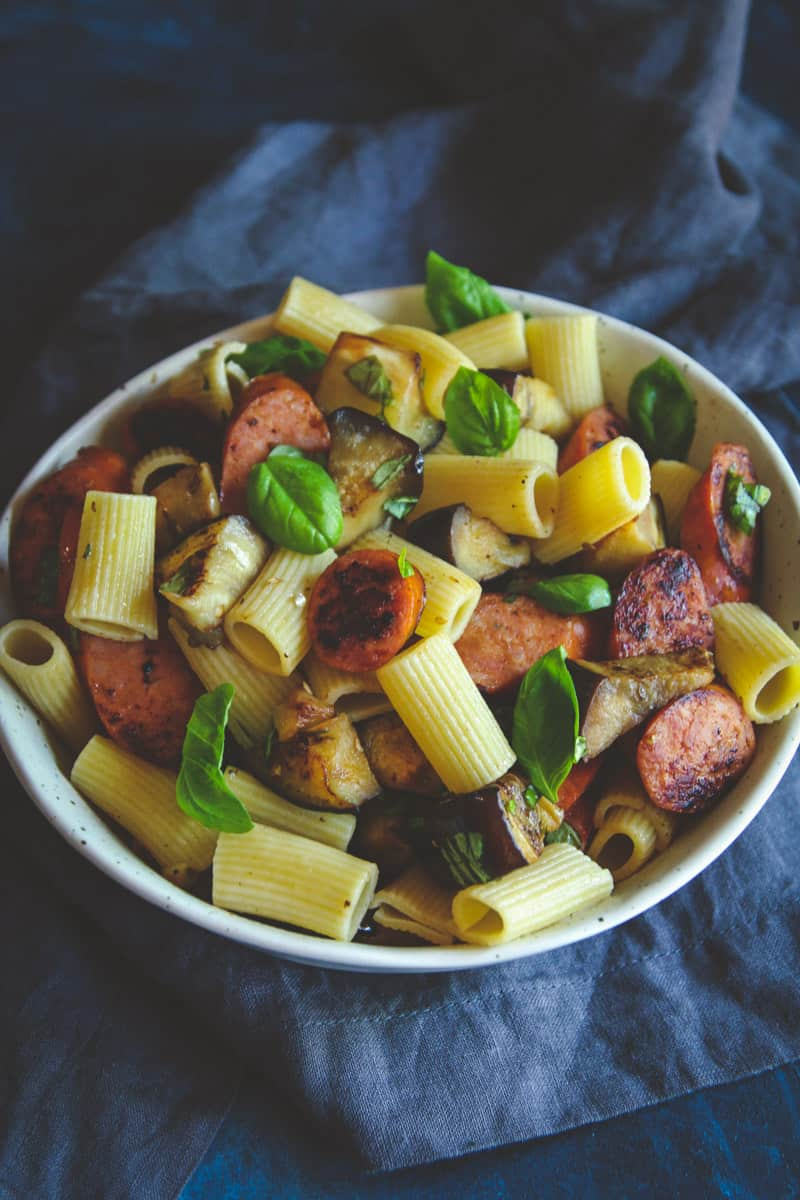 Super simple and delicious 5 ingredient rigatoni pasta with eggplant chorizo and basil