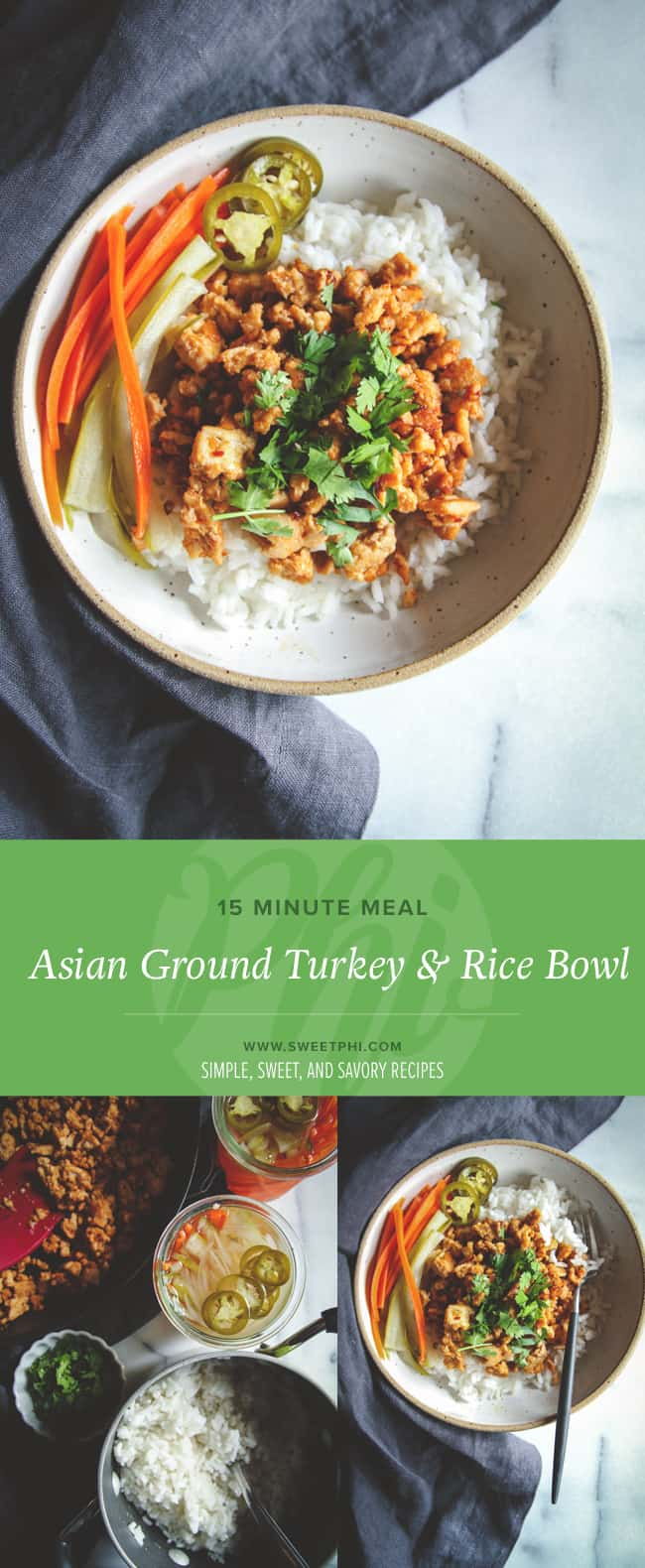 Easy recipe for asian ground turkey & rice bowls