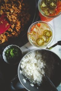 Ground turkey made with Asian ingredient for an easy 15 minute meal of Asian ground turkey and rice bowls