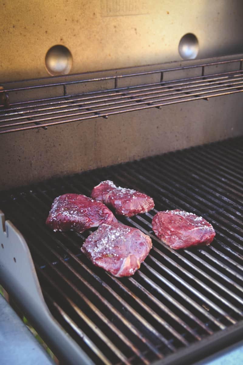 Grilling steak for salad