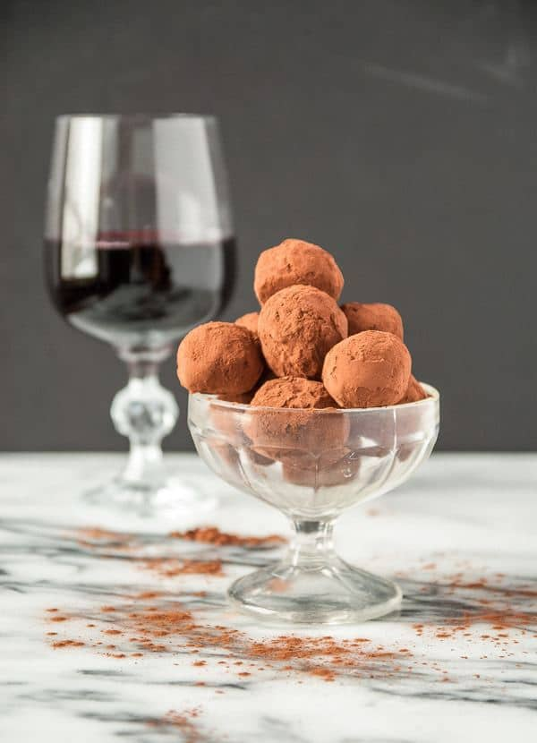 The most amzing dark chocolate red wine truffles