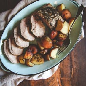 5 Ingredient crock pot pork roast and potatoes