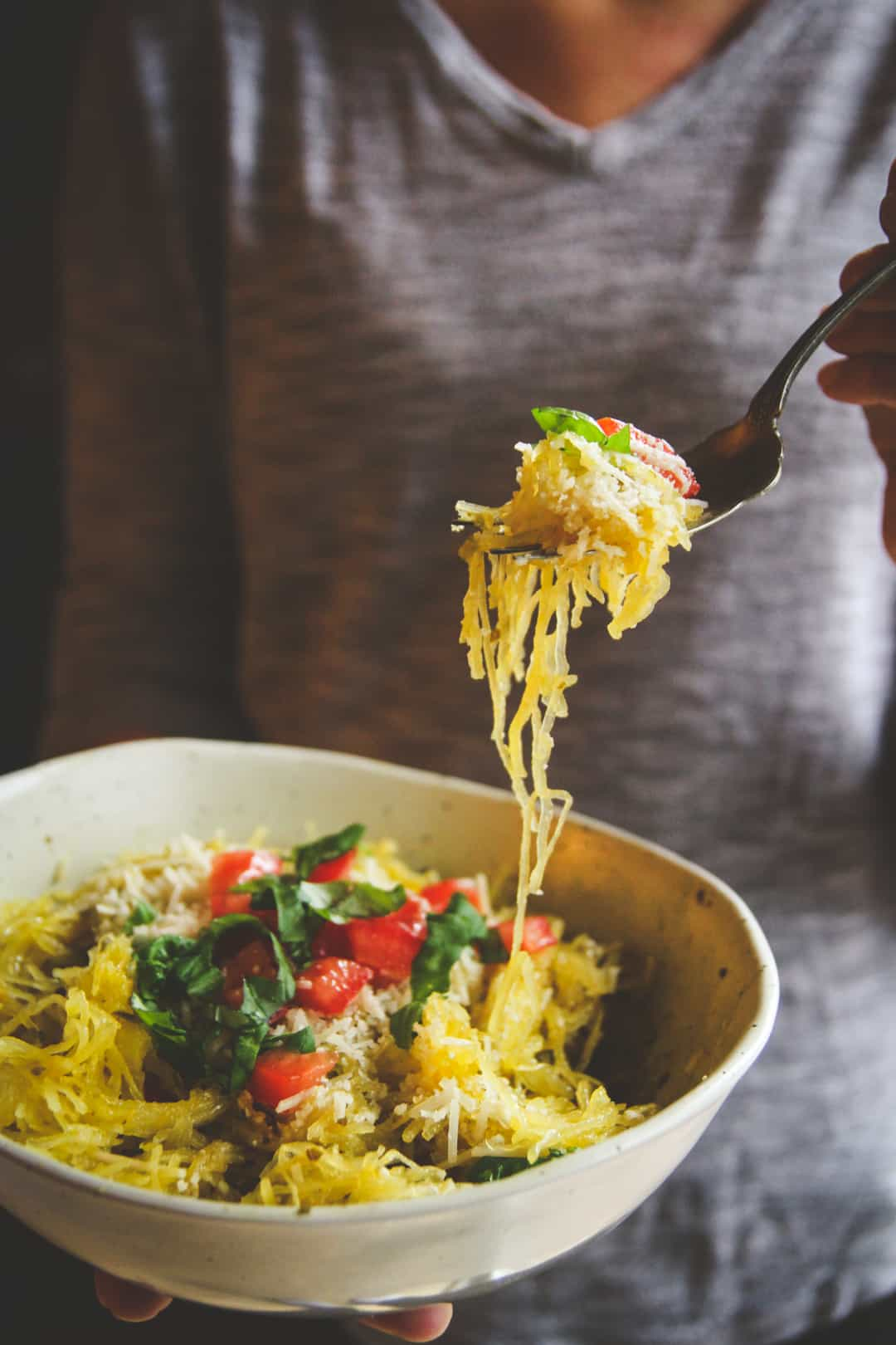 5 ingredient spaghetti squash pesto pasta recipe, a healthy alternative when you're craving pasta